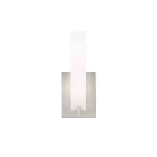 Cosmo Frost One-Light 120V Fluorescent Wall Sconce with Satin Nickel Base