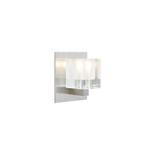 Tech Lighting Cube Frost One-Light Wall Sconce with Satin Nickel Base