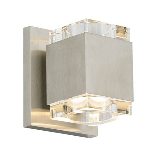 Voto Square Satin Nickel One-Light LED Wall Sconce with Clear Shade and Satin Nickel Stem