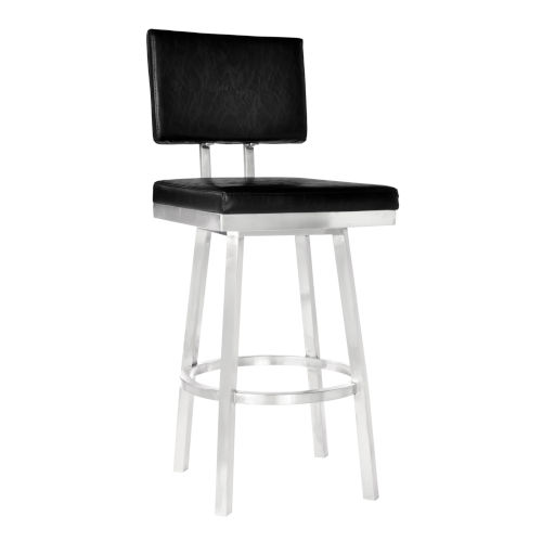 Balboa Vintage Black and Stainless Steel 26-Inch Counter Stool