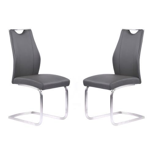 Bravo Gray with Brushed Stainless Steel Dining Chair, Set of Two
