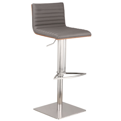 Café Gray and Chrome 32-Inch Bar Stool