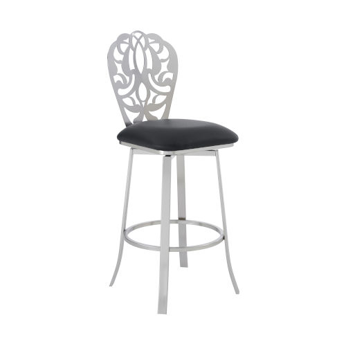 Cherie Black and Stainless Steel 30-Inch Bar Stool