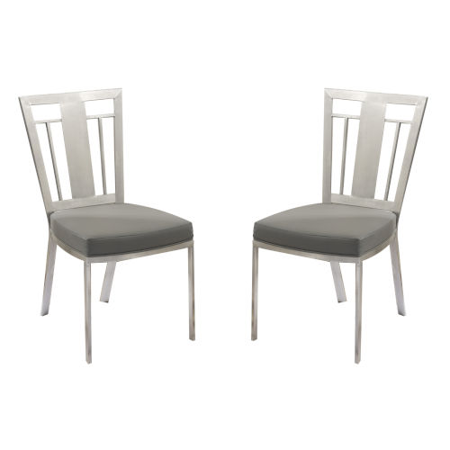 Cleo Gray with Black Wood Dining Chair, Set of Two