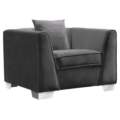 Cambridge Dark Gray with Brushed Stainless Steel Sofa Chair