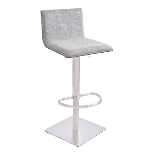 Crystal Gray and Stainless Steel 31-Inch Bar Stool
