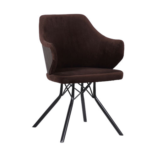 Darcie Brown with Black Powder Coat Dining Chair