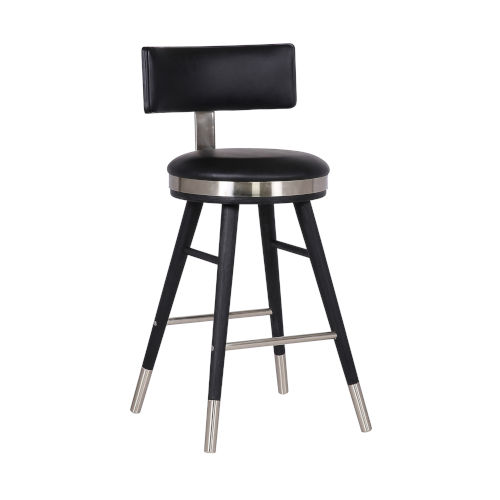 Grace Black and Stainless Steel 26-Inch Counter Stool