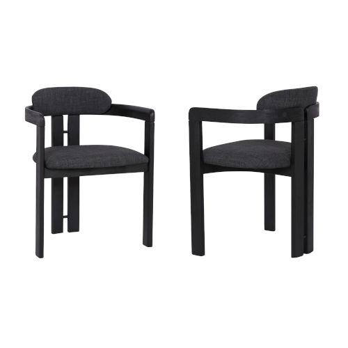 Jazmin Charcoal with Black Dining Chair, Set of Two