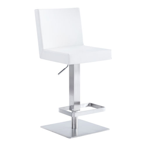 Legacy White and Stainless Steel 33-Inch Bar Stool
