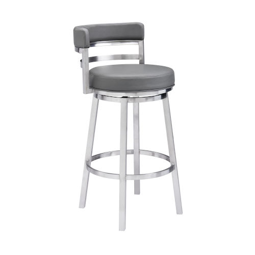 Madrid Gray and Stainless Steel 30-Inch Bar Stool