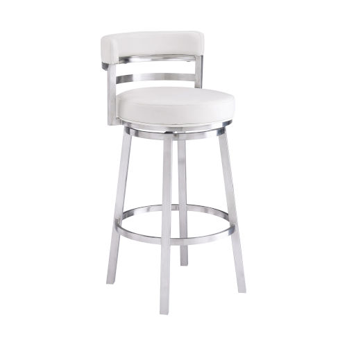 Madrid White and Stainless Steel 26-Inch Counter Stool