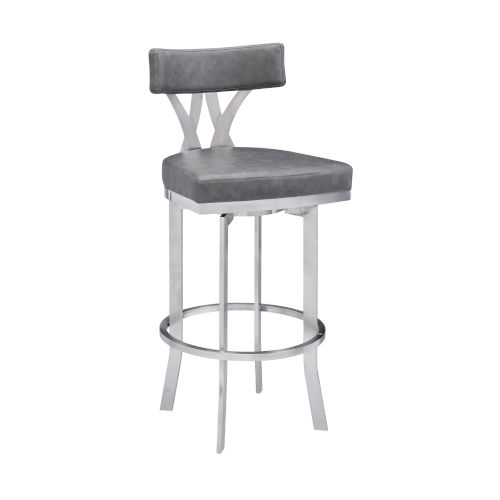 Natalie Vintage Gray and Stainless Steel 30-Inch Bar Stool