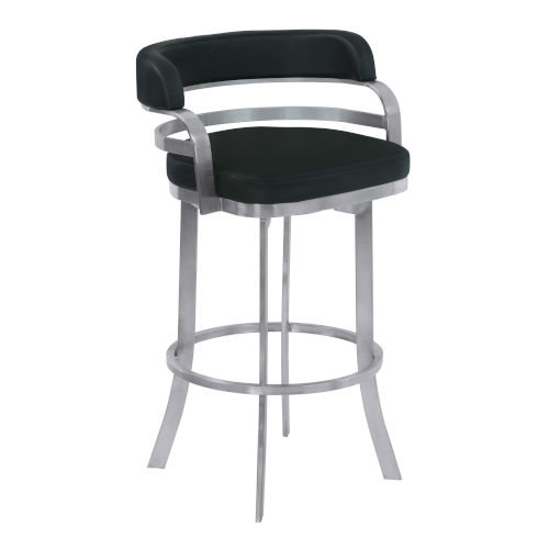 Prinz Black and Stainless Steel 30-Inch Bar Stool
