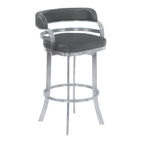 Prinz Gray and Stainless Steel 26-Inch Counter Stool