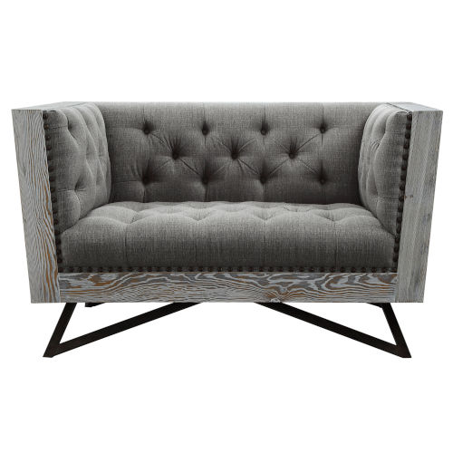 Regis Gray with Black Metal Sofa Chair
