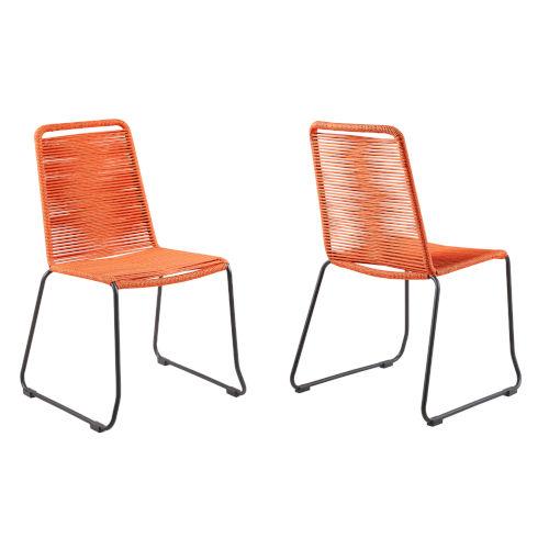 Shasta Black Orange Outdoor Dining Chair, Set of Two