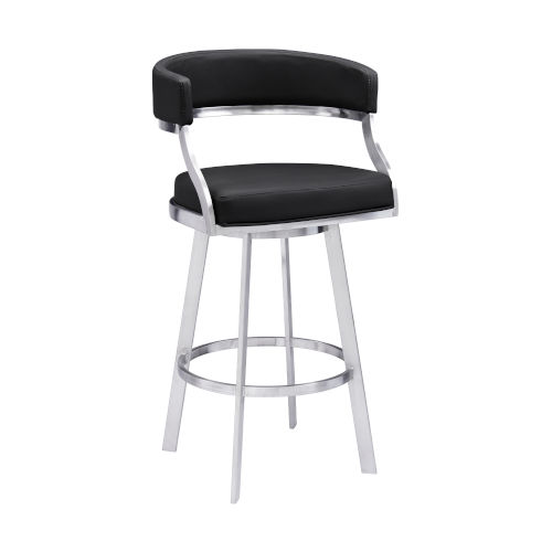 Saturn Black and Stainless Steel 26-Inch Counter Stool