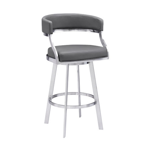Saturn Gray and Stainless Steel 30-Inch Bar Stool