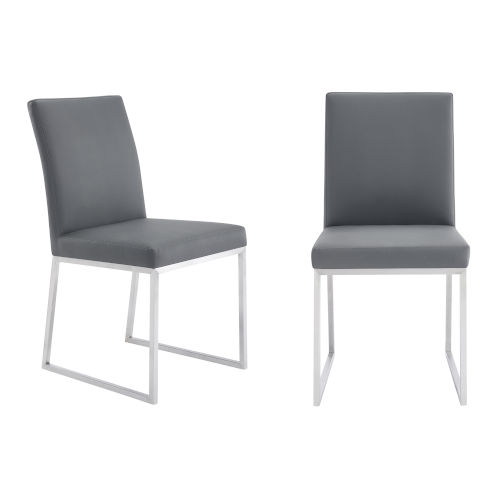 Trevor Gray with Brushed Stainless Steel Dining Chair, Set of Two