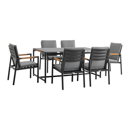 Crown Black Seven-Piece Outdoor Dining Set