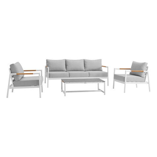 Crown White Four-Piece Outdoor Four-Piece Conversation Set
