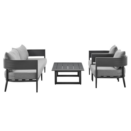 Menorca Dark Gray Four-Piece Outdoor Four-Piece Conversation Set