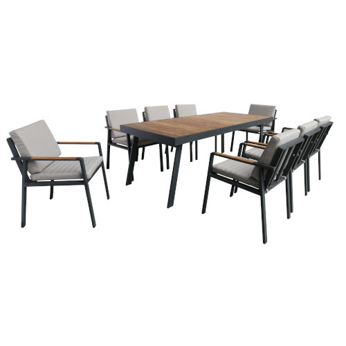 Nofi Charcoal Outdoor Patio Dining Set with 8 Chairs