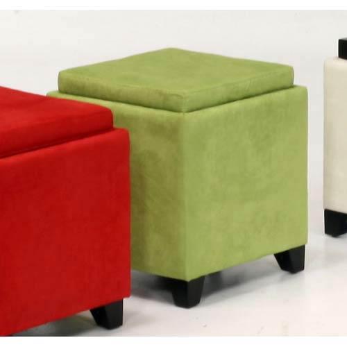 Armen Living Microfiber Storage Ottoman Green Lc530otmfgr