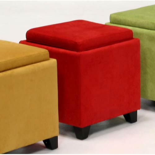 Charmant Microfiber Storage Ottoman   Red