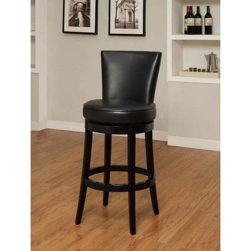 Armen Living Boston 30 Inch Black Bicast Leather Swivel Barstool
