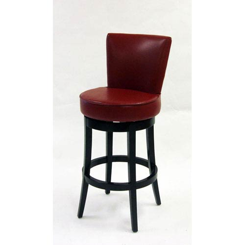 Armen Living Boston 30-Inch Red Bicast Leather Swivel Barstool