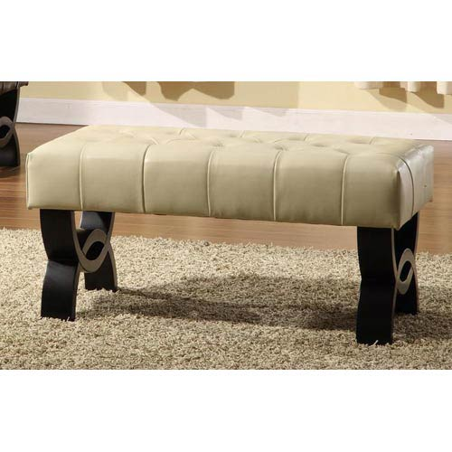 Central Park 24-Inch Tufted Cream Leather Ottoman