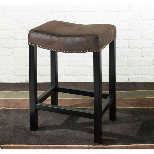 Tudor Backless 30-Inch Stationary Barstool Covered in a Wrangler Brown Fabric w/ Nailhead Accents