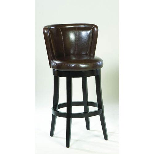 Lisbon Brown Leather 30-Inch Swivel Barstool