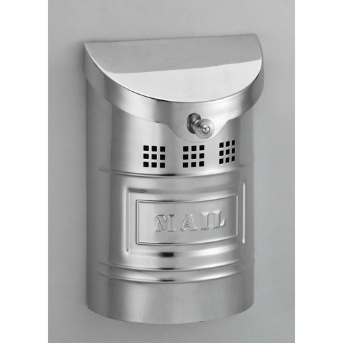 Polished Stainless Steel Small Mailbox with Steel Label