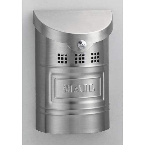 Brushed Stainless Steel Small Mailbox with Steel Label