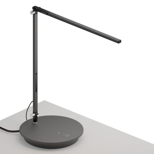 Z-Bar Metallic Black LED Solo Desk Lamp with Power Base