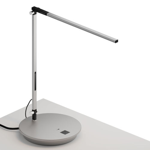 Z-Bar Silver LED Solo Desk Lamp with Power Base