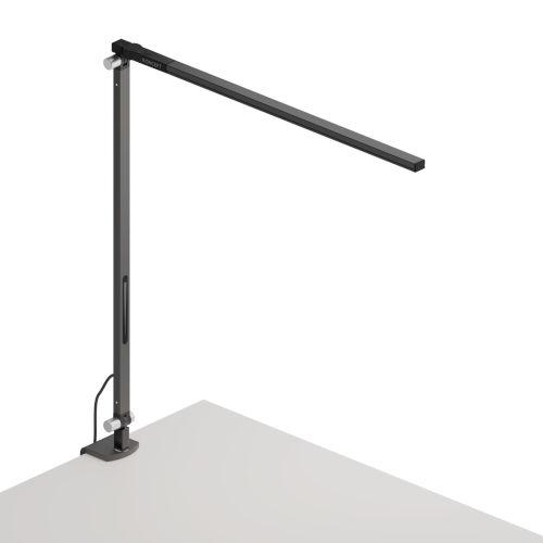 Z-Bar Metallic Black Warm Light LED Solo Desk Lamp with One-Piece Desk Clamp