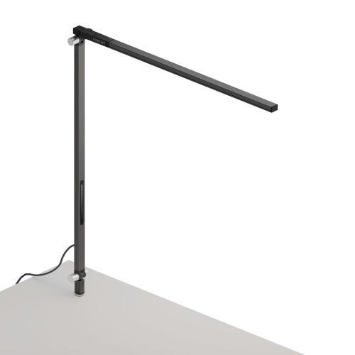 Z-Bar Metallic Black Warm Light LED Solo Desk Lamp with Through-Table Mount