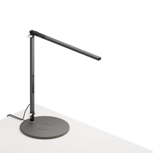 Z-Bar Metallic Black LED Solo Mini Desk Lamp with Wireless Charging Qi Base