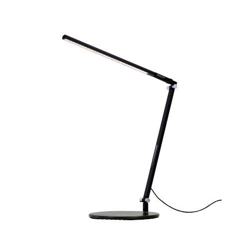 Z-Bar Metallic Black Warm Light LED Solo Mini Desk Lamp with Two-Piece Desk Clamp
