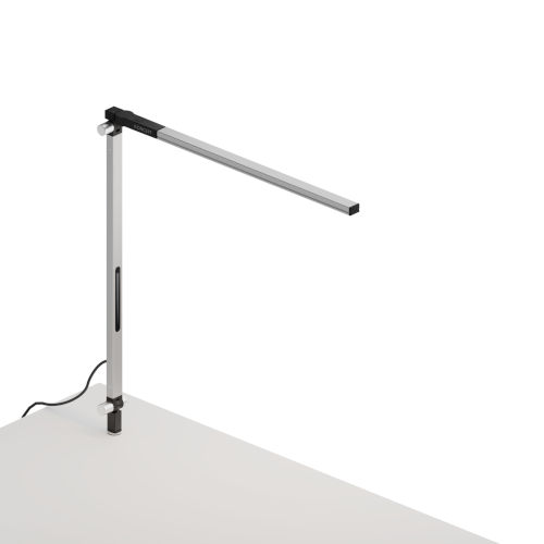 Z-Bar Silver Warm Light LED Solo Mini Desk Lamp with Through-Table Mount