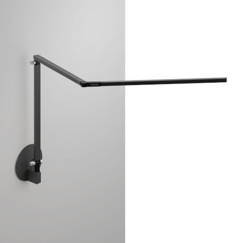 Z-Bar Metallic Black Warm Light LED Desk Lamp with Hardwire Wall Mount