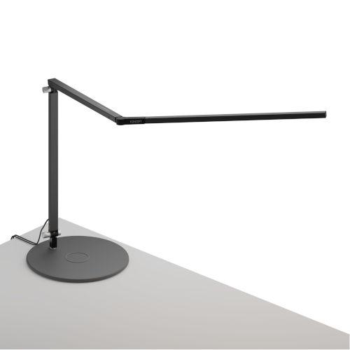 Z-Bar Metallic Black Warm Light LED Desk Lamp with Wireless Charging Qi Base