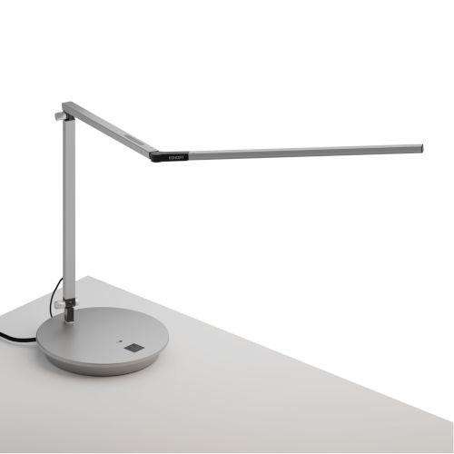 Z-Bar Silver Warm Light LED Desk Lamp with Power Base
