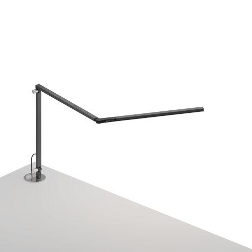 Z-Bar Metallic Black LED Mini Desk Lamp with Grommet Mount