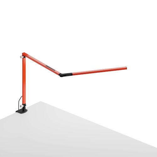 Z-Bar Orange LED Desk Lamp with One-Piece Desk Clamp