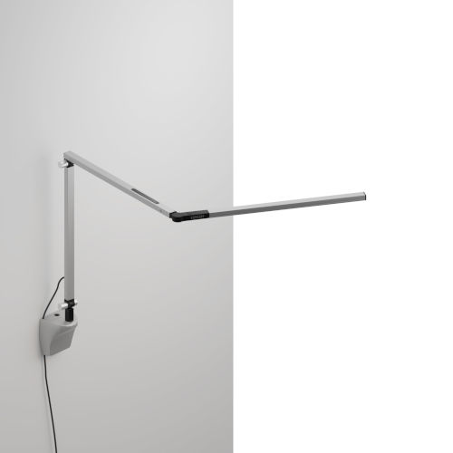 Z-Bar Silver Warm Light LED Mini Desk Lamp with Silver Wall Mount
